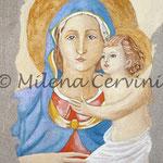 MADONNA CON BAMBINO, Omaggio al Beato Angelico - affresco a secco su tela con malta e  terre naturali colorate - 35x25 cm