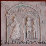 CONDANNA DEI PROGENITORI - cartapesta su legno - colore tempera - 45x45 cm
