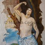 SAN SEBASTIANO - affresco a secco su tela con malta e terre naturali colorate - 70x50 cm