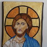 GESU', Omaggio al Cristo Pantocratore di S.Sofia di Istanbul - affresco a secco su tavola di noce  con malta e terre naturali colorate - 40x30 cm