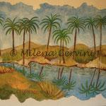 OASI NEL DESERTO - affresco a secco su legno con malta e terre naturali  - 30X40 cm
