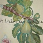 ERBARI  FICHI - affresco a secco su tela con malta e terre naturali colorate - 25x30 cm