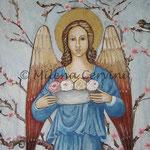 ANGELO DELLA PRIMAVERA - affresco a secco su tela con malta e terre naturali colorate - 60x60 cm