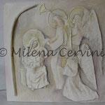 MATERNITA' - gesso su legno - colore a olio 45x45 cm