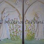 ANNUNCIAZIONE - n. 2 rilievi su legno 3 dipinti a olio 40x56 cm