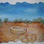 POZZO NEL DESERTO - affresco a secco su legno con malta e terre naturali colorate - 30X40 cm