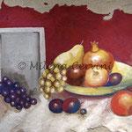 NATURA MORTA  - affresco a secco su tela con malta e terre naturali colorate - 45x55 cm