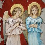 ANGELO DEL GIORNO, ANGELO DELLA NOTTE - affresco a secco su tela con malta e terre naturali colorate - 55x45 cm