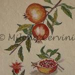 ERBARI  MELOGRANI - affresco a secco su tela con malta e terre naturali colorate - 25x30 cm