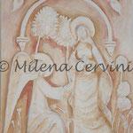 ANNUNCIAZIONE - gesso su legno - colore a olio 45x45
