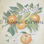 ERBARI  MANDARINI - affresco a secco su tela con malta e terre naturali colorate - 25x30 cm