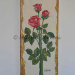 ROSE - affresco a secco su tela con malta e terre naturali colorate - 20x50 cm