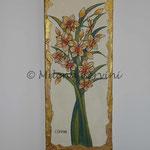 NARCISI - affresco a secco su tela con malta e terre naturali colorate - 20x50 cm