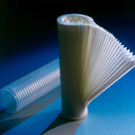 The pleated media may be a monofilament or a membrane.  The materials are varied : Polyethersulfone, nylon,  polypropylene, .The pleated media is maintained by a cage.