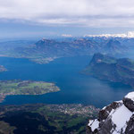 view of the Vierwaldstätter See and Lucerne from the Pilatus mountain, Switzerland