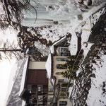 Zermatt - Hotel by an icy waterfall