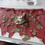 truffle carpaccio with parmigiano cream