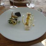 Tagliatelle de calamar, déclinaison d'artichaut (chips, purée, morceau de cœur, poêlé)