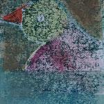 L'oiseau à la Fenêtre Monotype sur papier Hahnemühle 425 grs 40x30 cm 2019