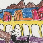 Le Chien qui voulait Sniffer à Valparaiso Craie cirée sur papier 9x14 cm 2012