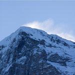 Eigergipfel mit Schneeverwehe