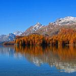 Silsersee mit der Chastèhalbinsel im Vordergrund