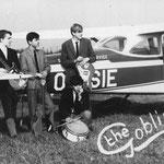 THE GOBLINS - 1966 (op vliegveld Seppe) vlnr (staand): Tonny Jongenelis - Boudewijn Korsmit - Jan Dekkers en voorgrond: Alexander Korsmit