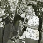 Hawaiian ensemble met vlnr. Evert Put (gitaar), ? (contrabas), Nono Gillet (Hawaiian gitaar) en Dolf Halapiry (ukelele)