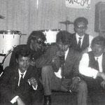 THE HALCONS  tijdens een optreden in Alphen (NB). vlnr: Ed Brodie, Henk Beijen, Roy Stubbs, Frans Horn, Les Brodie