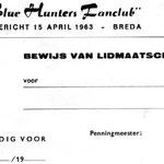 THE BLUE HUNTERS - fanclubkaart 1963