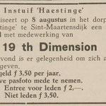 19th. DIMENSION: Eendrachtbode 30-7-1970