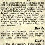 """Brabants Nieuwsblad: Songfestival op 27 oktober 1963 met The Blue Hunters als winnaars in de categorie """"Bands"""""""