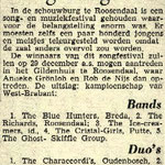 "Brabants Nieuwsblad: Songfestival op 27 oktober 1963 met The Blue Hunters als winnaars in de categorie ""Bands"""