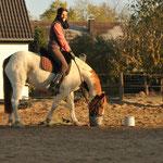 """Und ab zur """"Anhaltestation"""" zum absteigen.. So sieht ein glückliches Pferd und eine glückliche Reiterin, nach dem ersten Ritt, aus!!!"""