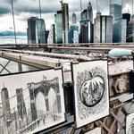 Straßenkünster auf der Brooklyn Bridge