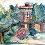 Haus im Garten, 1984, 21x31cm, Aquarell
