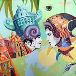 Augen-Blick - 2020, 60x80, Acryl/Gouache auf Leinwand