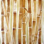 Bambus wild - Kaffeemalerei auf Leinwand 60 x 60 cm