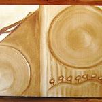 Aufi Obi - Kaffeemalerei auf Leinwand 60 x 30 cm