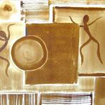 Wo? - Kaffeemalerei auf Leinwand 60 x 30 cm