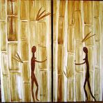 Finden - Kaffeemalerei auf Leinwand 2 Bilder je 60 x 30 cm