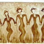 Frauen -  Kaffeemalerei auf Karton ca. 30 x 20 cm