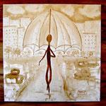 Die Leichtigkeit des Regens - Kaffeemalerei auf Leinwand 60 x 60 cm