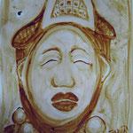 Maske - Kaffeemalerei auf Karton ca. 20 x 30 cm