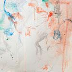 """""""Leichtigkeit"""", mit Wasser verdünnte Gouache auf Papier ca. 50x50 cm, 2015."""