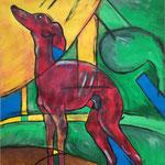 Hund | Mal anders, Gouache auf Papier, 41x59 cm, 2011.
