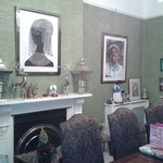 Hand printed African inspired wallpaper to dining room in house, Hertford, Herts.