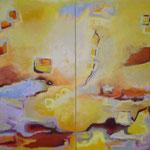 Sommerfeeling, 2-teilig, Acryl auf Leinwand, 2009, je 160 x 90 cm