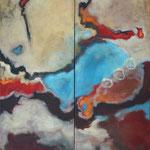 Bewegte Zeiten I+II, je 140 x 60 cm,  Öl und Acryl auf Leinwand