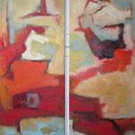 Verbunden mit Rot I+II, 2009,  Öl und Acryl auf Leinwand,Prvatbesitz